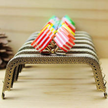 7pcs/Lot 10.5cm Metal Purse Frame Handle for Bag Sewing Craft,Striped Square Candy Beads Coin Purse Frames christmas gift
