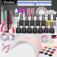 Yinikiz 36W UV LED Lamp Gel Nail Polish Nail Set Big Package Primer Base Gel Top Coat Lacquer Manicure Tools Nail Kit Set