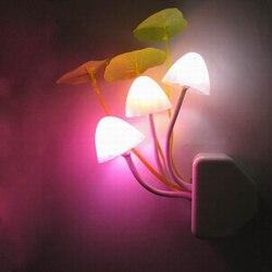 Lámpara de luz nocturna con forma de seta para bebés, bombilla Led de emergencia, enchufe europeo y estadounidense, Sensor derecho, 3 hongos coloridos, Z20