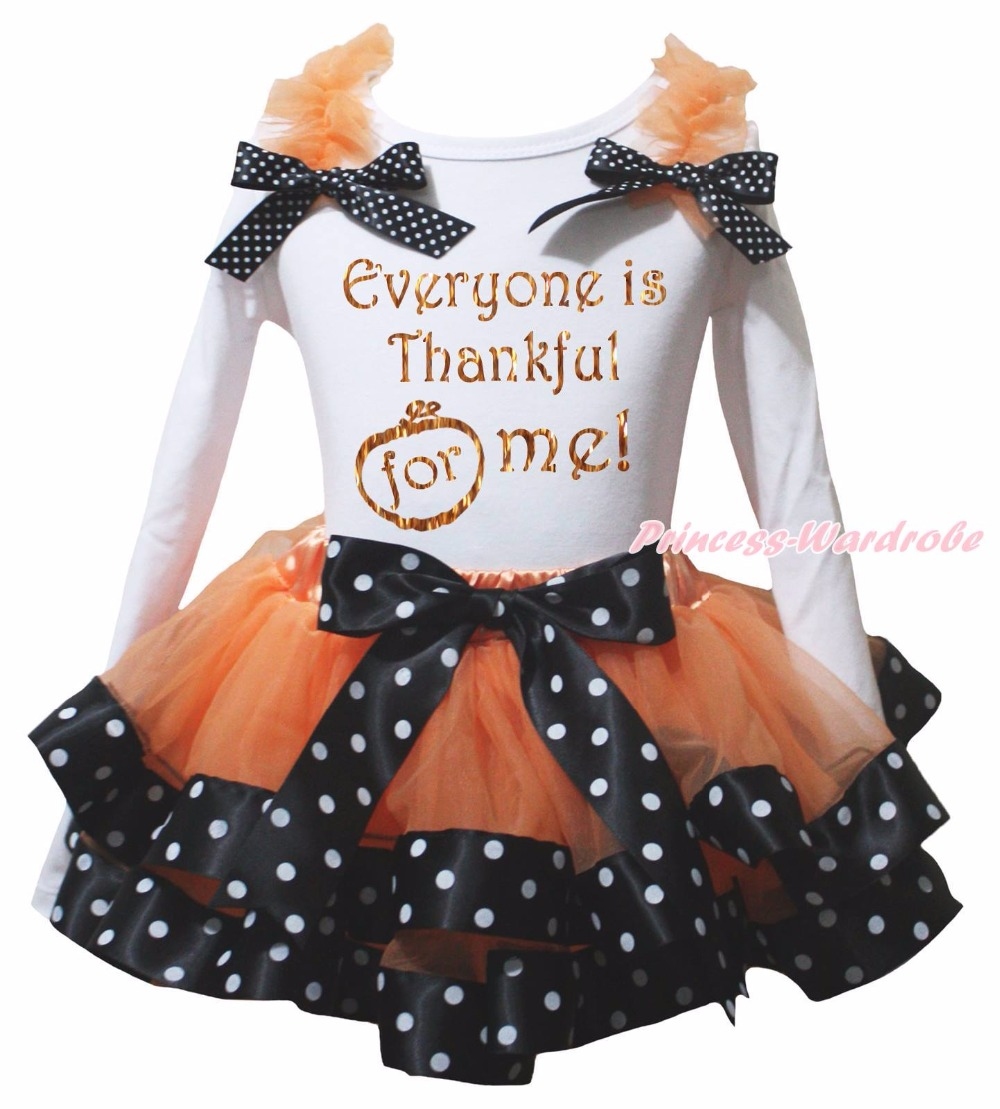 Everyone is Thankful For Me Gobble Till You Wobble Turkey Halloween Pumpkin White L/s Shirt Dots Black Orange Petal Skirt Nb-8y pumpkin print white pettitop coral petal skirt nb 8year baby girl mamh241