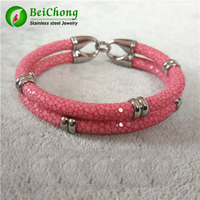 Exclusive customization Couple leather bangles luxury Stingray Skin leather bracelet with small charms