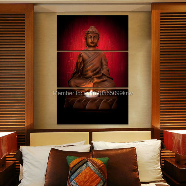 3 Piece Canvas Art Modern Printed Buddha Painting Picture Decoracion Buddha  Paintings Wall Canvas Pictures For