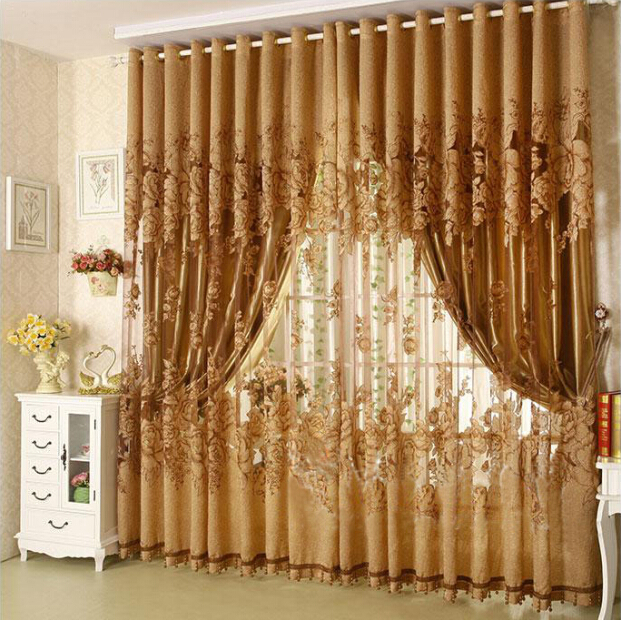 1 Pc Curtain And 1 Pc Tulle Peony Luxury Window Curtains: ₪1pc 100*270cm Modern ⊰ Fashion Fashion High Quality