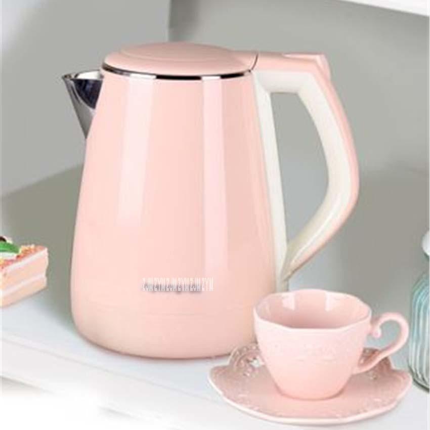 220 В 1.5L емкость Еда класса Нержавеющаясталь сохранение тепла и анти горения Электрический чайник розовый K15-F623 Электрочайники
