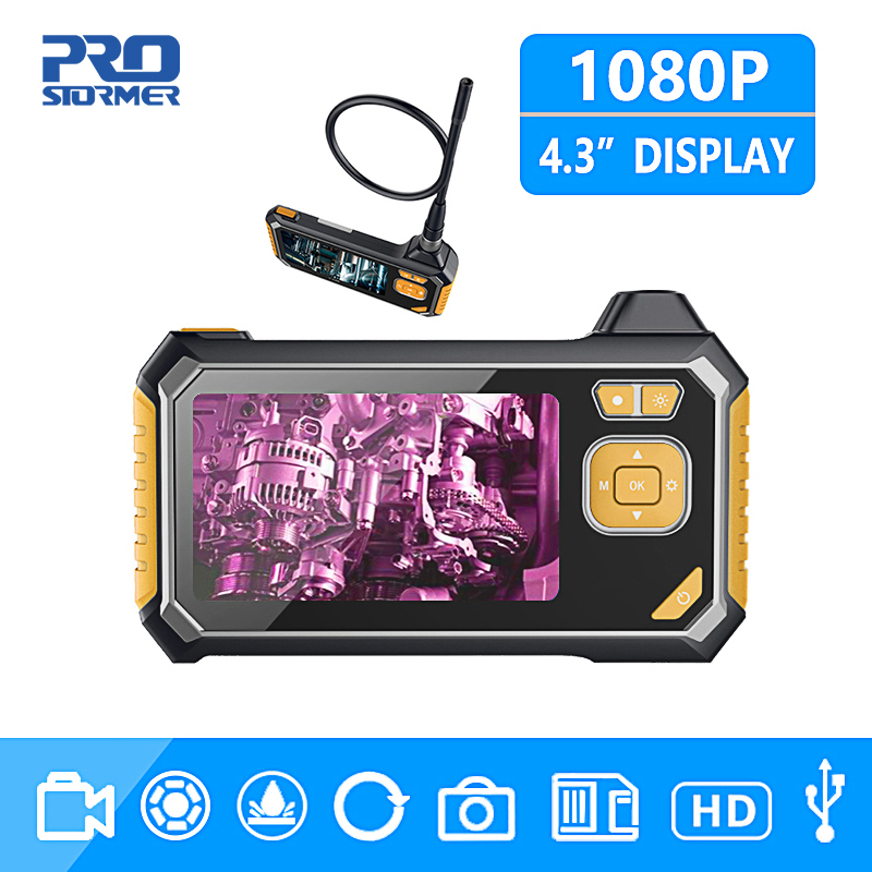 PROSTORMER 1080P HD 8mm Industrial Endoscope 4 3 Inch Auto Repair Inspection Camera Endoscope Lithium Battery