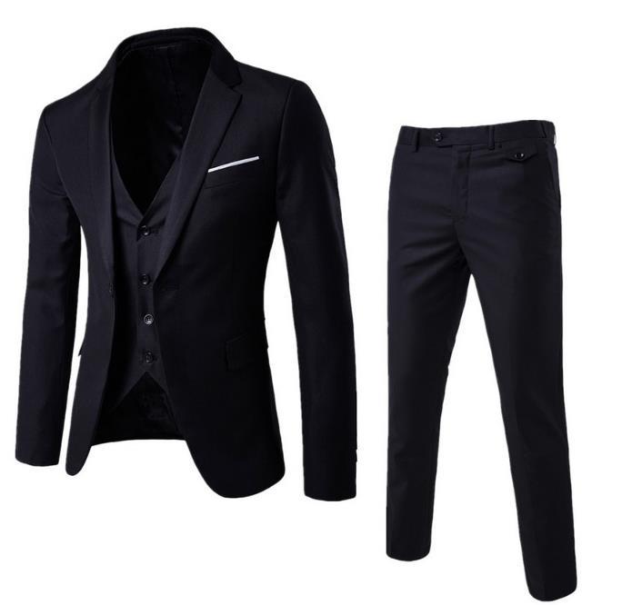 3 Pieces Jacket+Pants+Vest)2019 Wedding Suits For Men Fashion Solid Business Suit Set Casual Mens For Male Suits Costume Homme