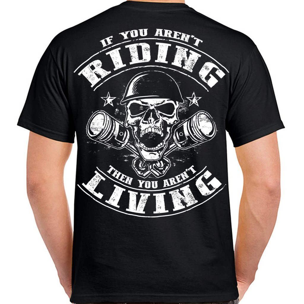 2019 Funny Biker Riding Is Living Piston Skull T-Shirt Double Side Unisex Tee
