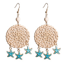 2019 Starfish Rattan Weaving Earrings Girl Fashion Vacation Beach Exaggeration Big  Drop for Women Jewelry Accessories