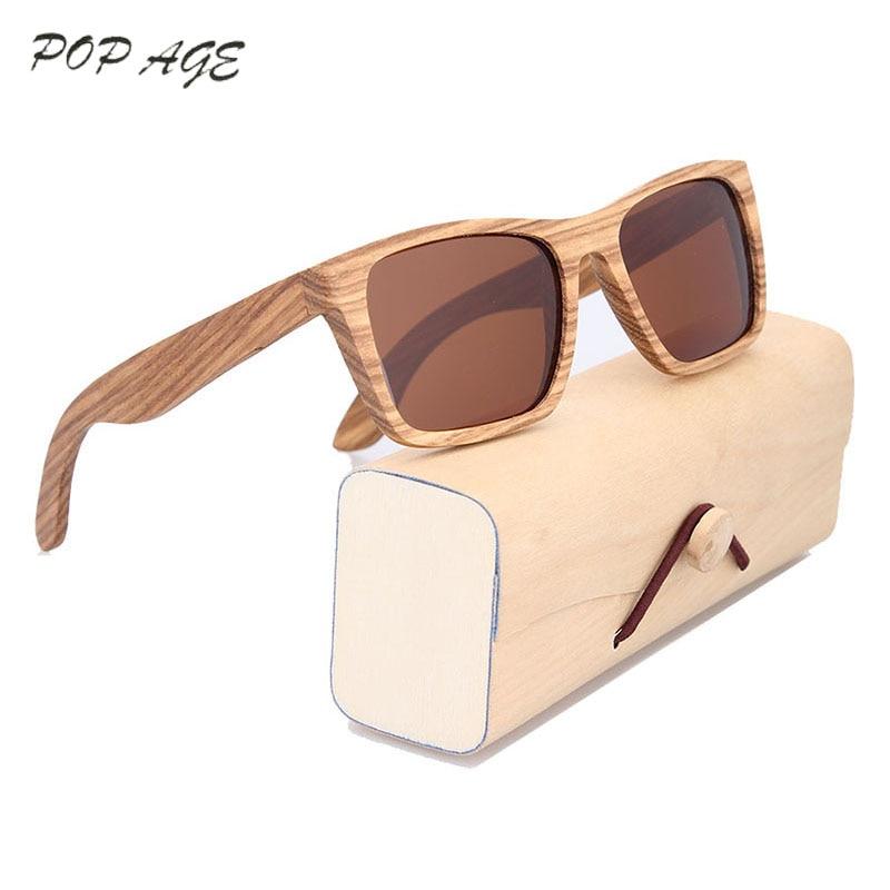 POP AGE Wood font b Sunglasses b font Men Bamboo Frame Eyewear Brown Polaroid font b