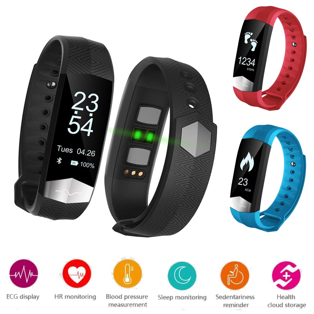 CD01 Bluetooth Smart Band ECG Display Heart rate Blood pressure monitor Smart wristband Fitness Bracelet For IOS Android phones