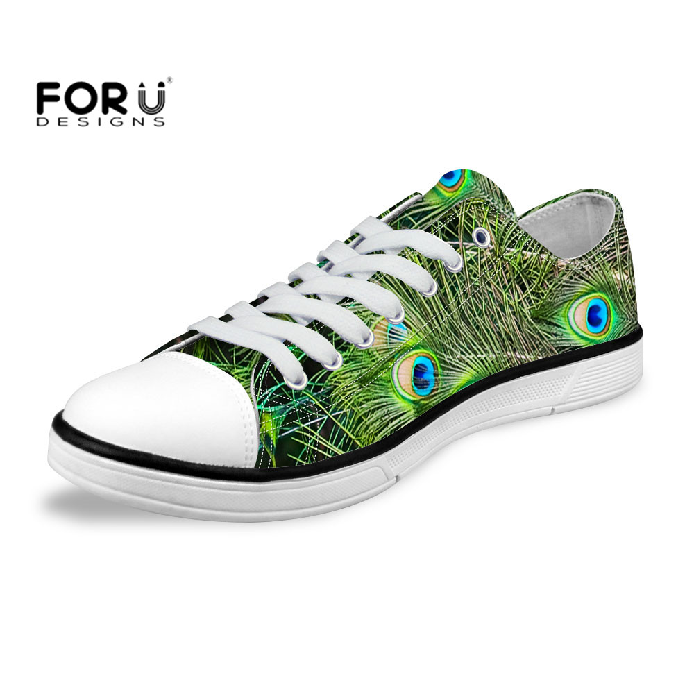 ФОТО FORUDESIGNS 3D Pretty Soft Feather Print Canvas Shoes Student Outdoor Walking Flat Shoes Comfortable Canvas Pantofi Plat Shoes