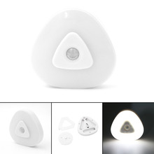 1pc Mini Wireless Infrared PIR Motion Sensor Ceiling Night Light Battery Powered Portable Lantern Porch Lamp Triangle,Use AAA