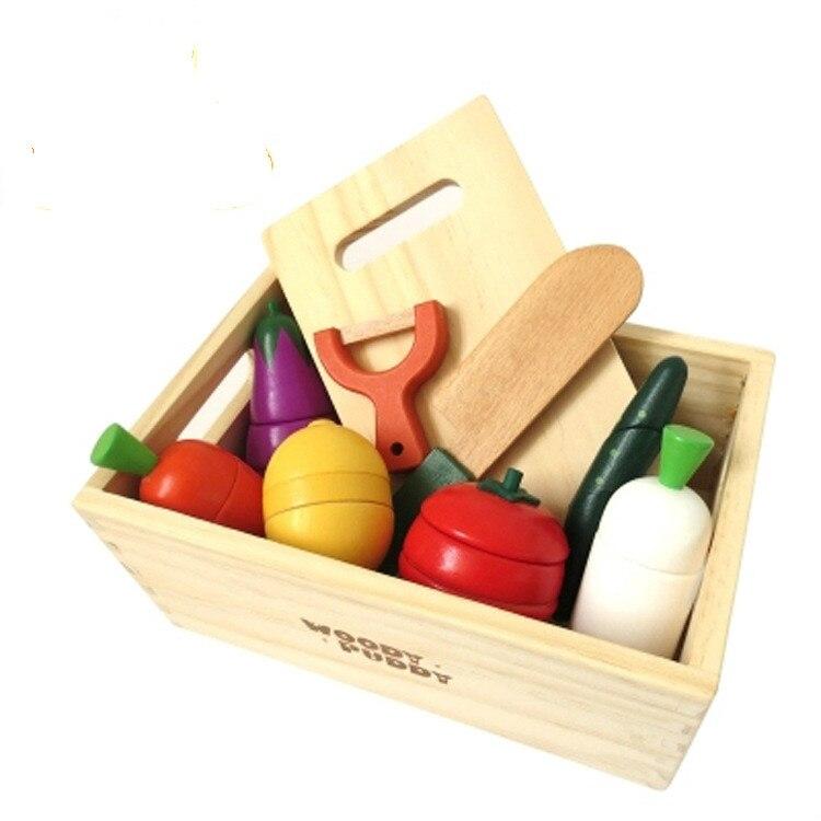 Bébé en bois jouet enfants cuisine jouets coloré coupé jouer maison jouets cuisine accessoires fruits légumes prétendre Cocina Juguete