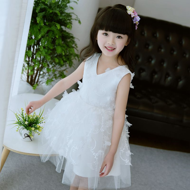 2017 New Summer Formal Kids Girls White Dress Princess Wedding Party Dresses Girl Clothes Dress Bridesmaid Children Clothing halilo new 2018 girls summer dress kids clothes girls party dress children clothing pink princess flower girl dresses hot sale