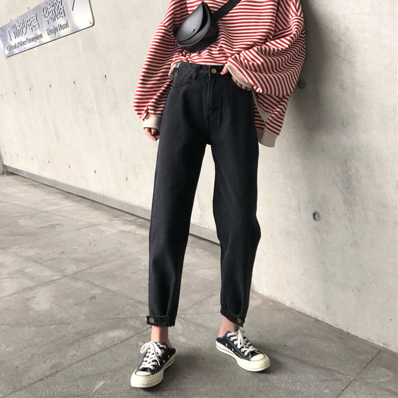 3 Colors Mihoshop Ulzzang Korean Korea Women Fashion Clothing High Waist Black Cool Basic Loose Trousers Denim Jeans Pants
