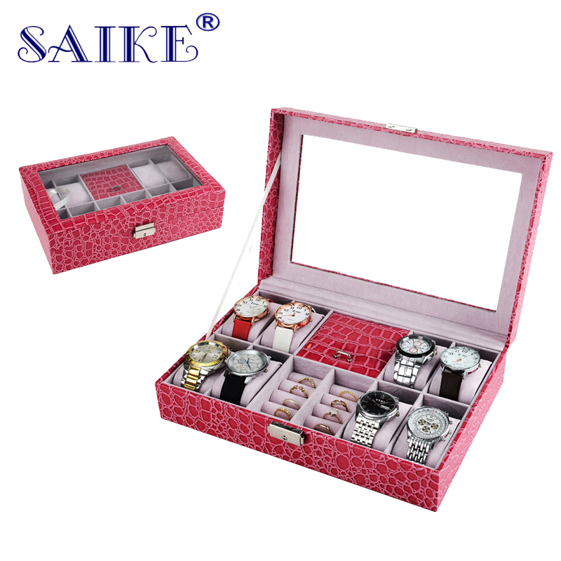 SAIKE Jewelry Watch Box Stripe Leather Wristwatch Display Case Box Rings Collection Storage Organizer Holder for Watch Ear Rings 28 in 1 game memory card case holder storage box for nintendo 3ds xl