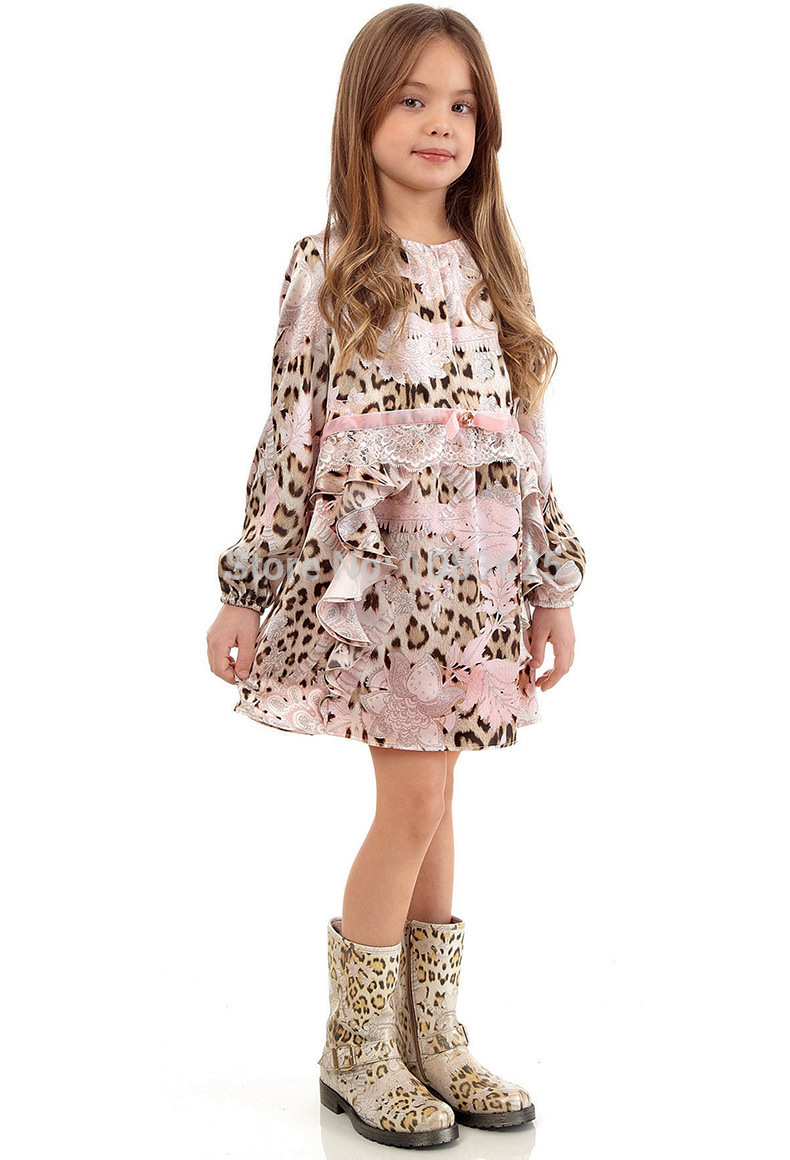 все цены на Full Sleeve Girls Dress Silk Chiffon Brand Kids Dresses with Leopard Print Lace 2017 New Arrival Spring Summer Christmas Dress