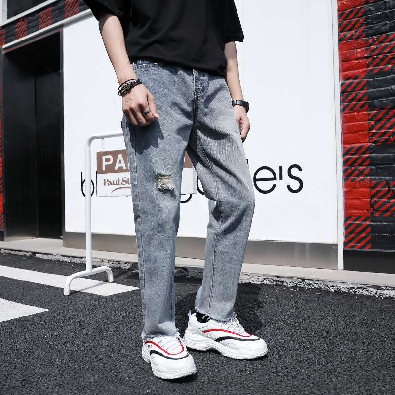 2019 Spring New Korean Version Of The Thin Section Of The Trend Of TheOf The Tide Straight Loose Pocket Casual Nine Points Jeans