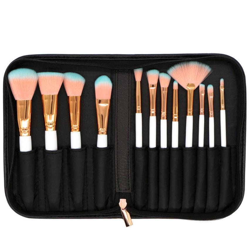 12 Pcs PU Bag Makeup Brush Real wool Multicolor Lip Eyeshadow Blending Set Brushes For Make Up Cosmetic Brushes Nov 25 12 pcs cosmetic pu brush bag horsehair makeup brushes set