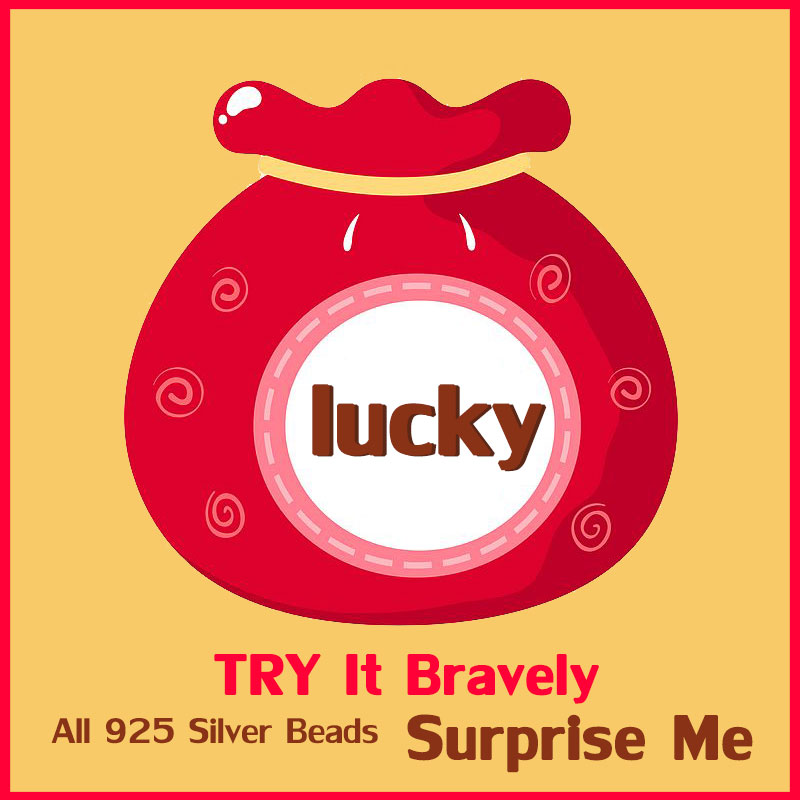 Try It Bravely ! $4.55 Lucky Bag Package 925 Sterling Silver Beads Fit For Women Bracelet Surprise Gift Random Style No Refund