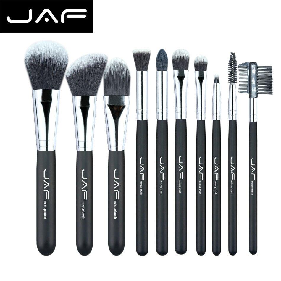 JAF À La Mode 10 pièces Cosmétiques Maquillage Brush set Professionnel Doux Taklon Fiber pinceaux de Maquillage Outil Kit J10NNS