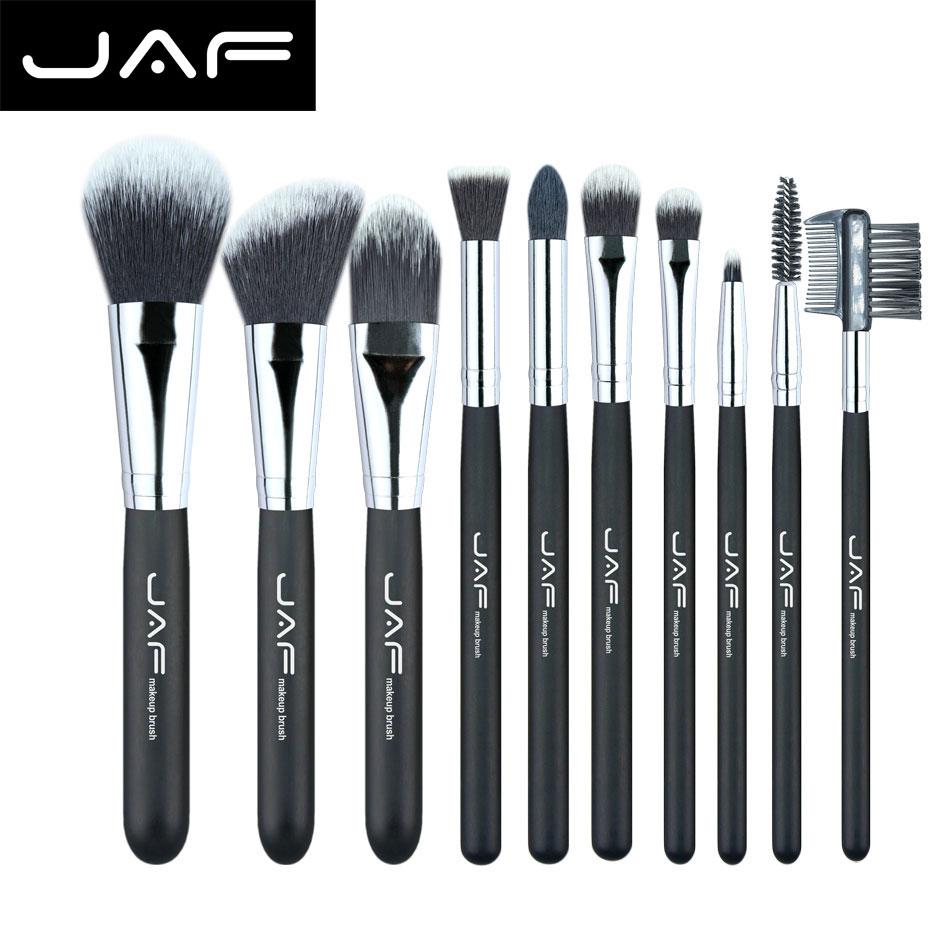 JAF Fashionable 10 pieces Cosmetic Makeup Brush set Professional Soft Taklon Fiber Make Up brushes Tool Kit J10NNS