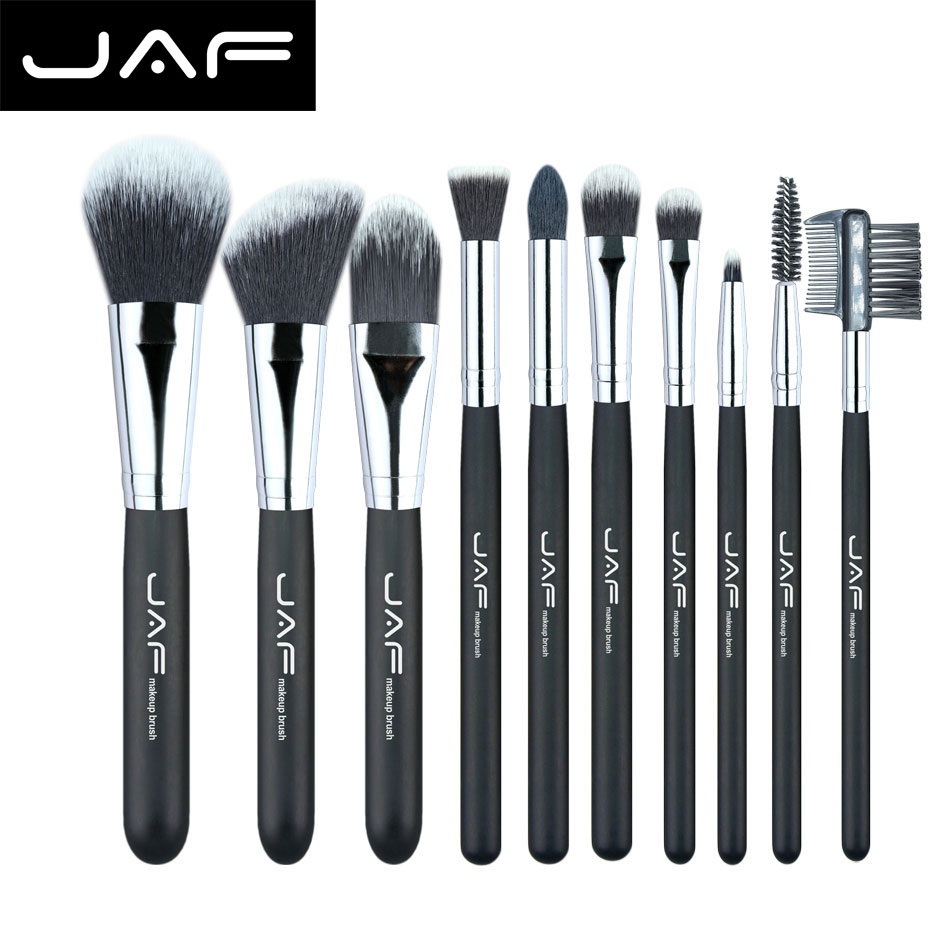JAF Fashionable 10 pieces Cosmetic Makeup Brush set Professional Soft Taklon Fiber Make Up brushes Tool Kit J10NNS