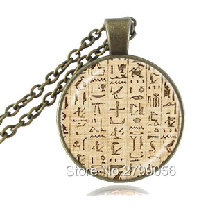 Egyptian Hieroglyphics Necklace Muslim Paper Egypt Writing Picture Pendant Ancient Egypt Jewelry Fashion Accessories