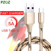 PZOZ USB Type C Cable 5A Fast Charger Original Type-C USB C For Huawei P10 Mate 9 Super Charger USB-C