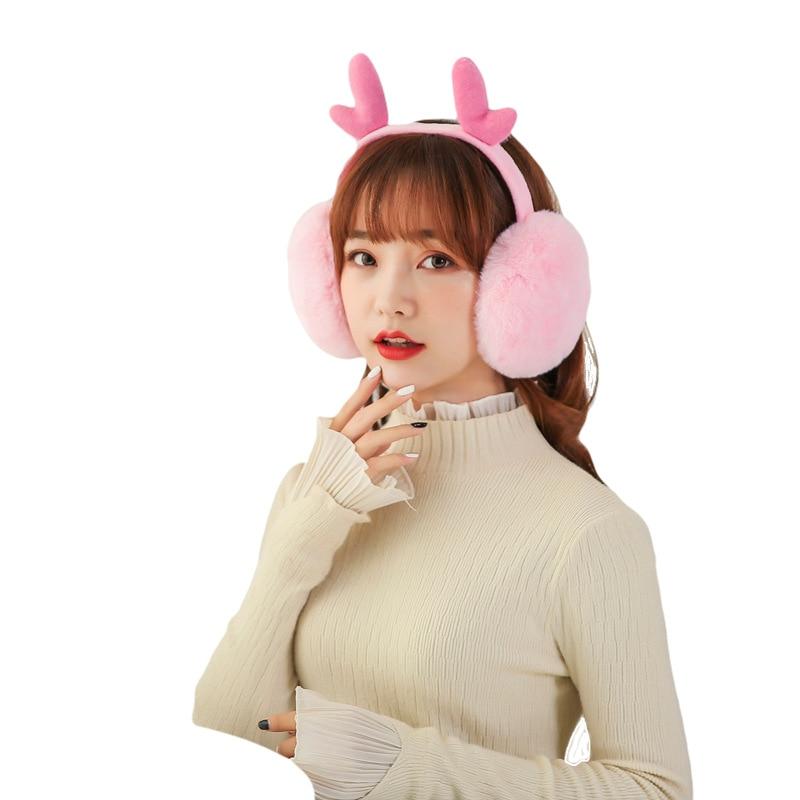 Antler Folding Earmuffs Imitation Rabbit Fur Fashion Hipster Women Girls Plush Winter Warm Earmuffs Winter Accessories PS-04