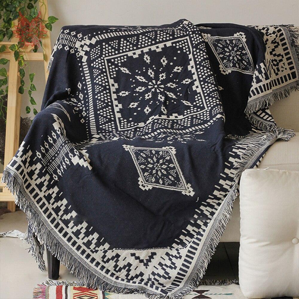 Navy Beige Geometric Yarn Dyed Sofa Cover Sofa Towel Sofa Chair Blanket  Duplex Slip Resistant