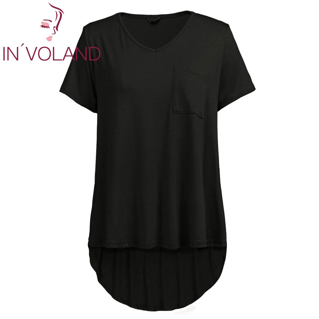 IN'VOLAND Femmes T-Shirt Tops Plus La Taille L-4XL Solide V-cou À Manches Courtes Pokcet Asymétrique Grand Pulls T-shirts T-shirt Grande Taille