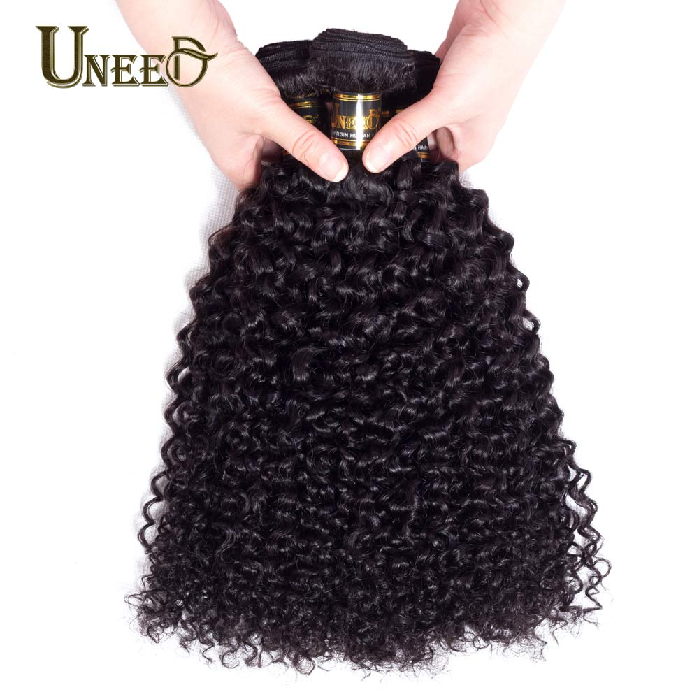 Uneed Hair Curly Peruvian Hair Weave Bundles 1 Piece Human Hair Weaving Natural Color Remy Hair Extensions 10-28inch Can be dyed