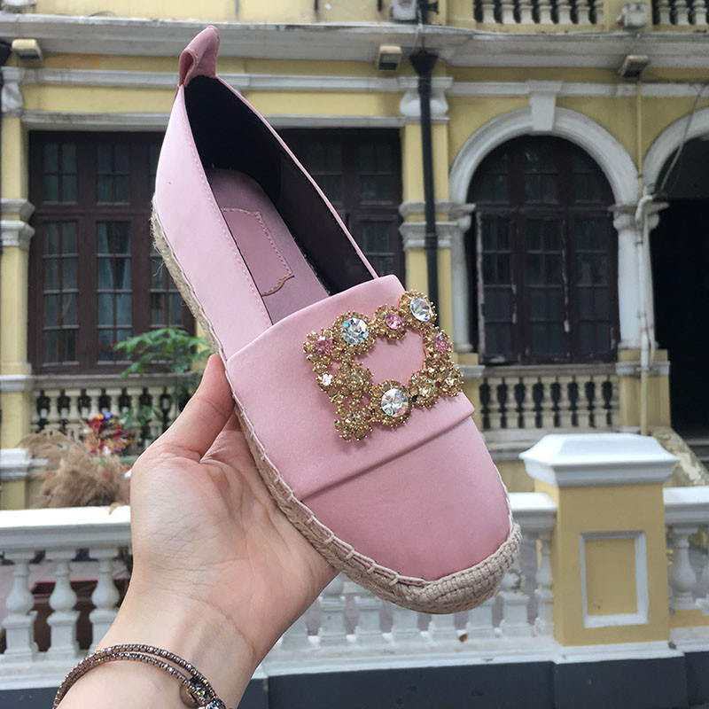 Shoes Women 2018 Summer Autumn New Flat Crystal Buckle Shallow Ladies Shoes Daily Casual Round Toe Slip-on Loafers Zapatos Mujer designer summer flat shoes women ladies suede casual canvas shoes anti slip flats loafers shallow slip on shoes zapatos mujer