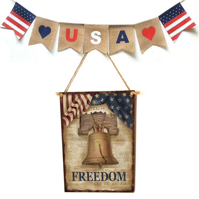 Vintage Wooden Hanging Plaque Freedom Sign Board Wall Door Home Decor Independence Day Party Gift-in Plaques & Signs from Home & Garden