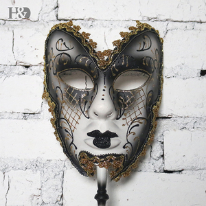 Image 2 - H&D 6 Kinds Venetian Mask On Stick Mardi Gras Mask for Women/Men Masquerade Party Prom Ball Halloween Party Cosplay Favors