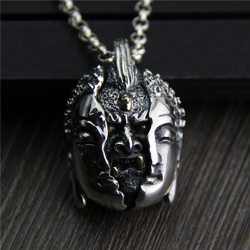 C&R Real 925 Sterling Silver Pendant Necklace Retro Mens Personal Asymmetric Face Thai Silver Pendant Fine Jewelry