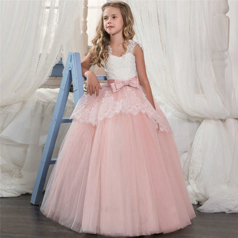 Children Wedding Dresses Kids Party Pink Vestidos Lace Tutu Tiered Clothes  For 6-14Y Birthday dff794a2acf0