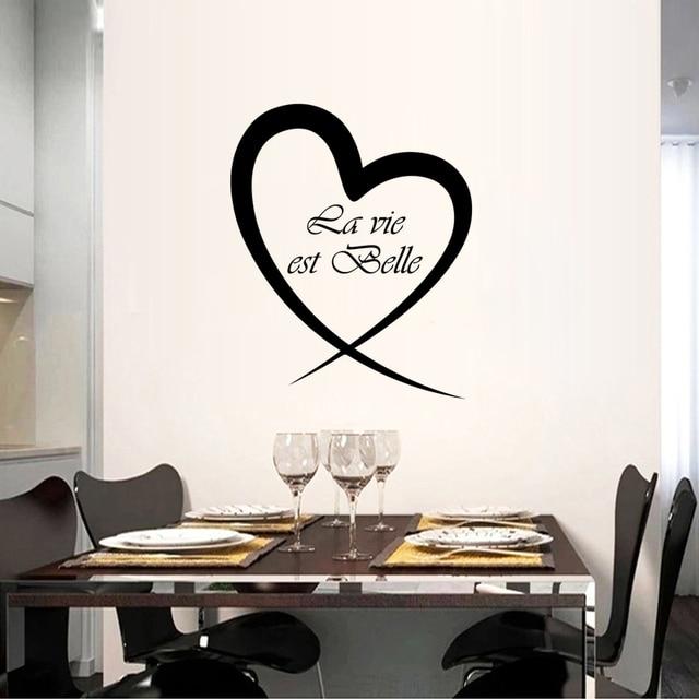 French Vie Est Belle Sticker Restaurant Kitchen Removable Vinyl Wall Stickers Diy Home Decor Waterproof Wallpaper