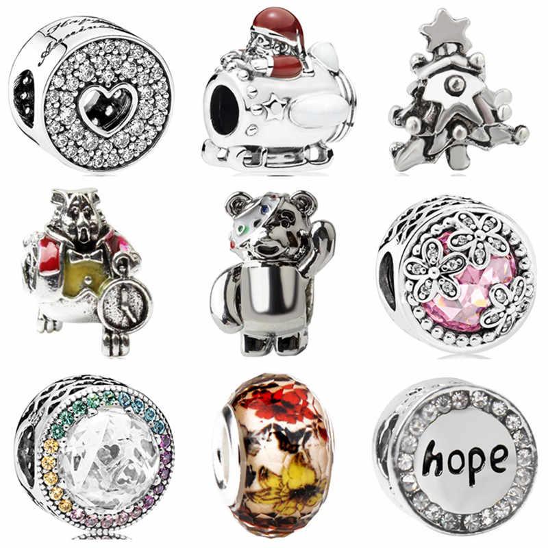 Gorący sprzedawanie Hollow gwiazda motyl niedźwiedź kwiat kryształowe serce wisiorki koraliki Fit Pandora bransoletki bransoletki Making biżuteria część prezenty