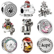Hot Selling Hollow Star Butterfly Bear Flower Crystal Heart Charms Beads Fit Pandora Bracelets Bangles Making Jewelry Part Gifts(China)