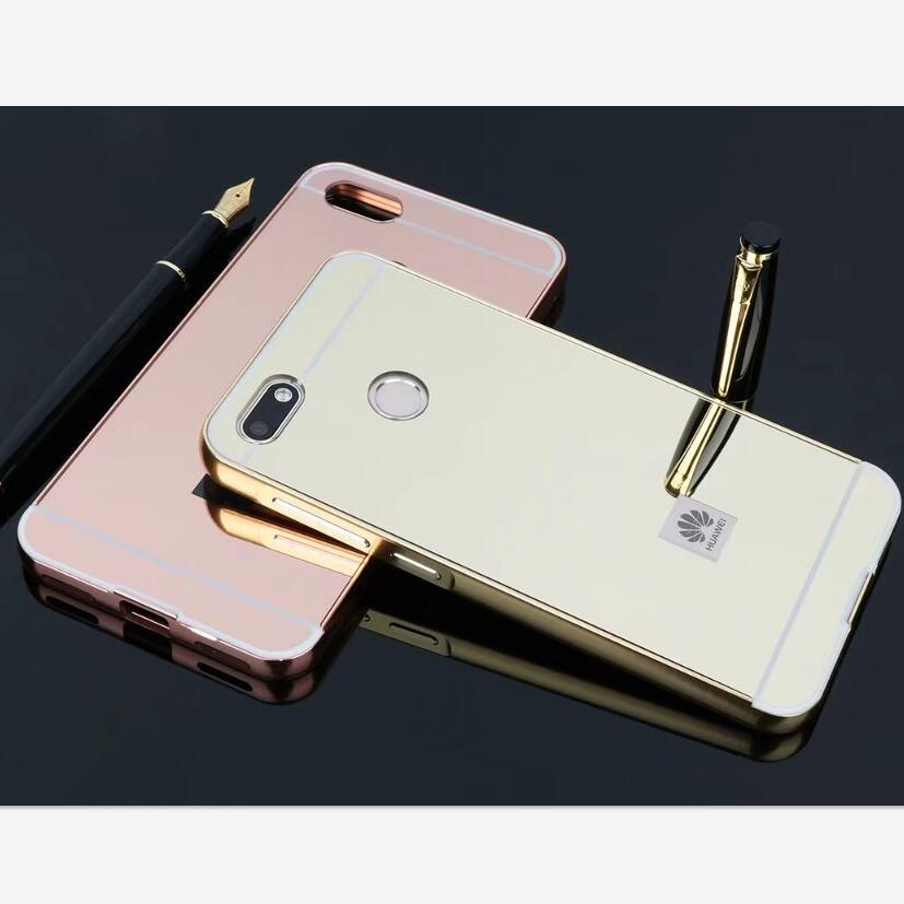 For Huawei P9 Lite Mini 5.0 HOT Luxury Rose Gold plating Mirror Cell Phone Back Skin Cov ...