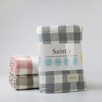100% Cotton Blanket Single Double Gauze Towel Blanket Air Conditioning  Cobertor Nap Plaid Bed Sheets 49a81c02b