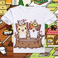 New-Game-Neko-Atsume-Cartoon-Cat-Cotton-T-shirt-Short-Sleeve-O-Neck-T-shirt-for-WomenStudent-Summer-Clothes-Top-Tees-S-4XL-3