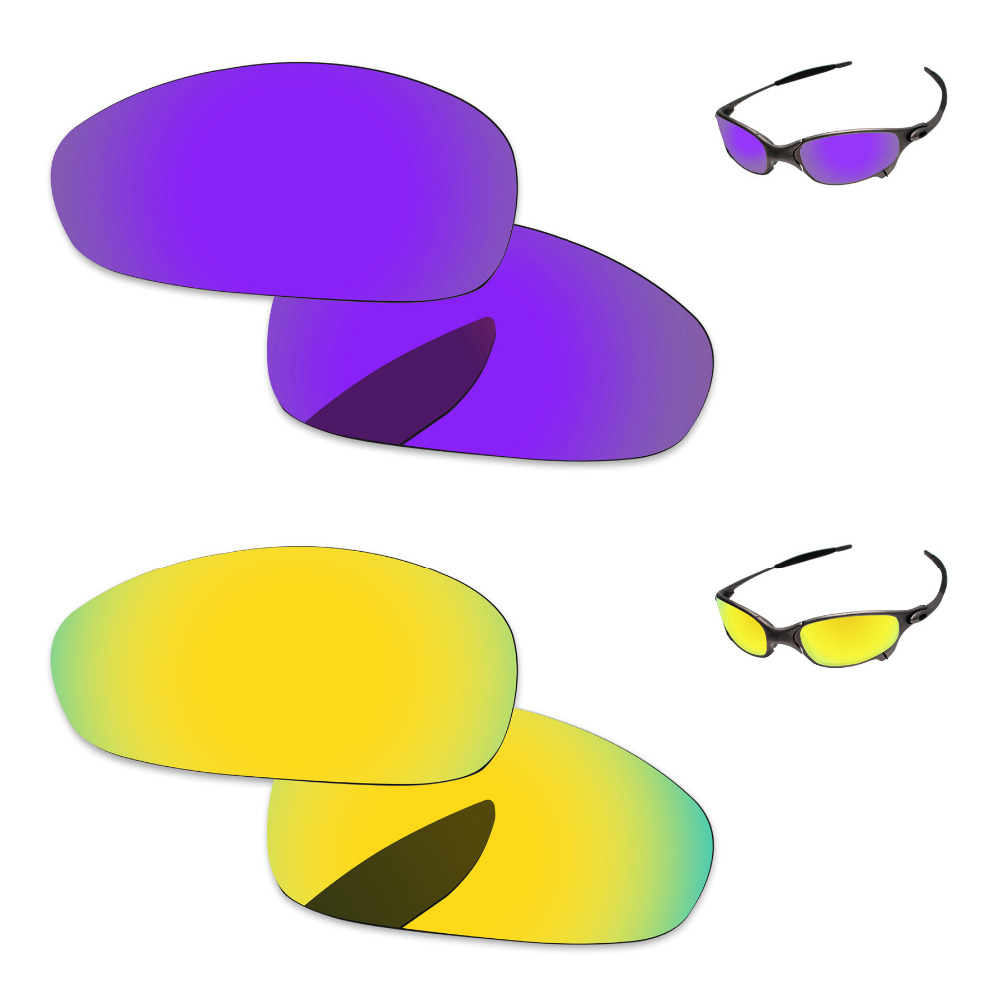 24K Golden & Plasma Purple 2 Pairs Mirror Polarized Replacement Lenses For Juliet Sunglasses Frame 100% UVA & UVB Protection