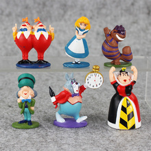 6pcs lot Anime PVC Toy Alice In Wonderland Red Queen the Cheshire Cat Mad Hatter The