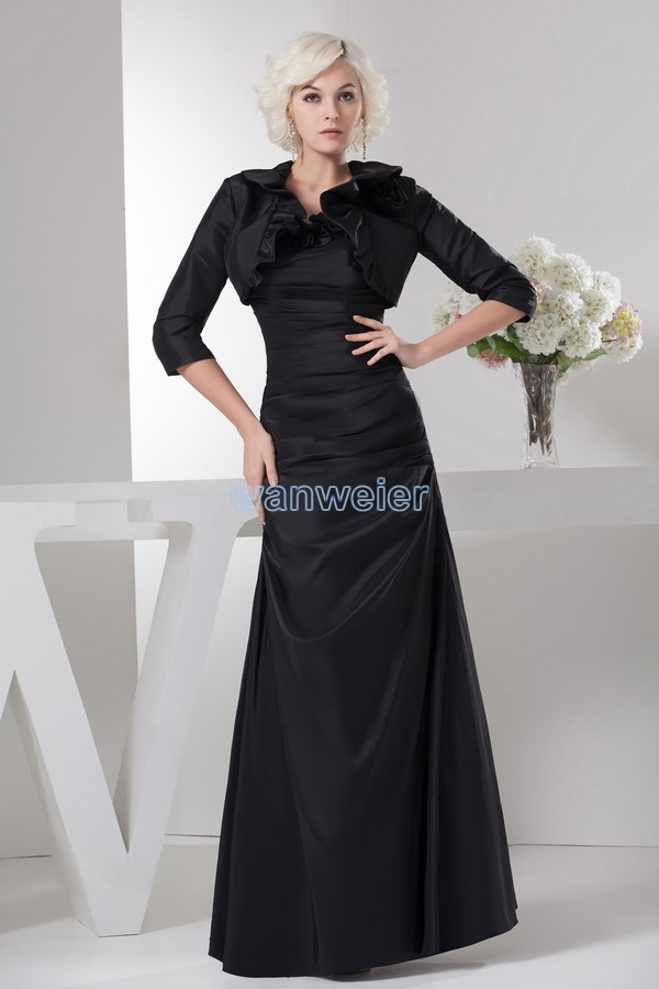 Free Shipping 2016 New Design Hot High Neck Long Sleeve Brides Maid Dress With Jacket Custom Black Mother Of The Bride Dresses