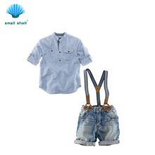 small shell 2016 Summer style Children baby boys clothing sets kids clothes cotton shirt+jeans+straps 3 pcs F0004