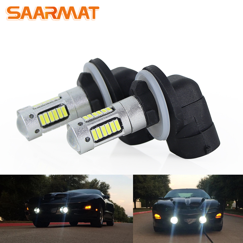 SAARMAT 2* High Power 6500K White 30-SMD 4014 881 889 H27 LED Replacement Bulbs For Car Fog Lights,12V led white