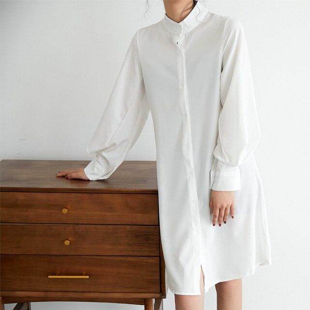 Casual Loose Women Long Shirts 2019 New Fashion Collar Plus Size Blouse Long Sleeve Buttons White Shirt Women's Tops Streetwears 3